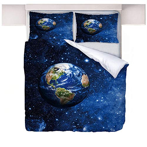 Aopoy King Size Star Earth 3D Printing Quilt Cover Microfiber Duvet Cover Hotel Bedroom Snti-allergy Bedding 3-piece set Single Double -universe_200 * 200cm
