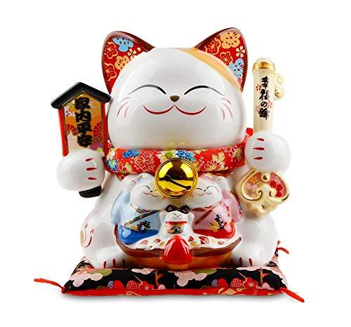 SYNL Keramische Maneki Neko Lucky Cat Fortune Kat Geld Doos Betekenis Vrede en Geluk voor Home Decoratie L25*W23*H25cm