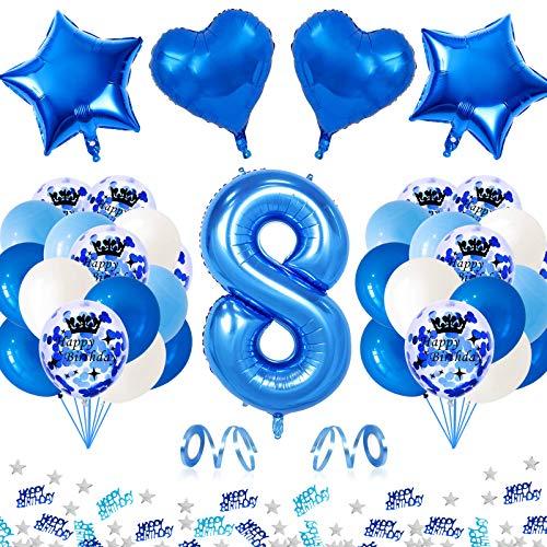 APERIL Globo de Cumpleaños 8 Años, Azul Gigante Globos Numeros 8, 8 Cumpleaños Decoración Niño, Globos de Confeti Globo Azules Blancos e Confeti Fiesta Cumpleaños para Niño Cumpleaños Aniversario