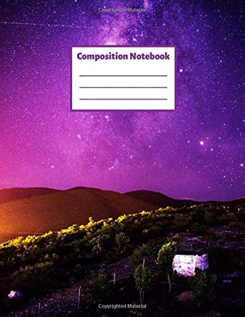 質素な憂鬱な銀行Composition Notebook: Nature Starry Sky Galaxy Universe Notebook Journal   College Ruled 110 Pages   8.5 x 11