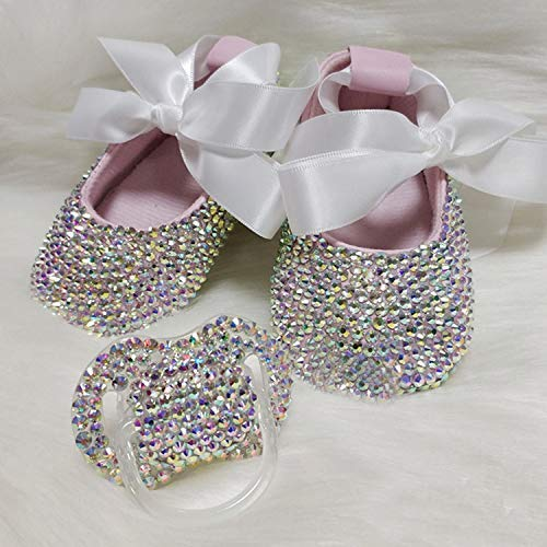 Newborn Baby Crystal Prewalker Shoes Rainbow Beauitful Girls Princess Shoes Jelly Shoes with Bling Baby Pacifier Set