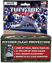 Tuff Toe Pro (White) Baseball Fastpitch Softball Cleat Guard | Pitcher Shoe Drag Protector (No UV protectant, Yellows in Light)
