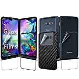 GOBUKEE [1SET] [5PCS] for LG G8X, ThinQ Screen Protector [Perfect Fit Glasses for LG Dual Screen] [1 Full Coverage Tempered Glass] [4 Protective Films] 9H Hardness Anti-Scratch