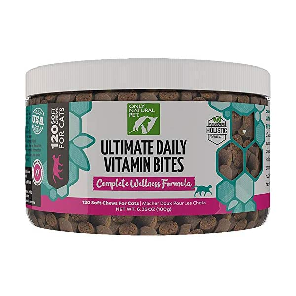 Only Natural Pet All-Natural Feline Holistic Ultimate Daily Multi-Vitamin Plus Cat Formula Essential Vitamins and Minerals Pet Supplement – 120 Soft Chew, A 30 Day Supply