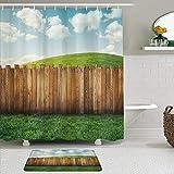 Juego de cortinas y tapetes de ducha de tela,Cerca de jardín de madera de tierras de cultivo en pastizales entorno pas,cortinas de baño repelentes al agua con 12 ganchos, alfombras antideslizantes