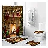 TOKYMOON 4 STÜCKE Weihnachten Duschvorhang Sets Schneemann Weihnachtsmann Duschvorhang Badematten Teppiche U-förmigen Podest Matte Toilettensitzbezug Polyester Duschvorhang mit Haken (Weihnachten 3)