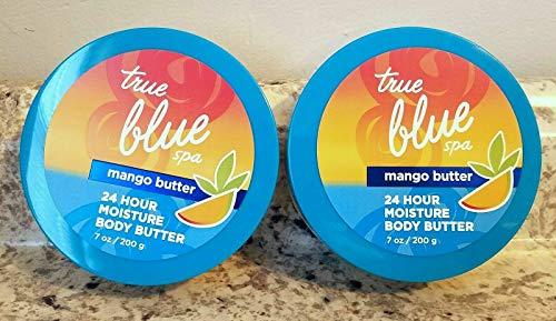 Bath & Body Works True Blue Spa 24 Hour Moisture Mango Body Butter 7 oz - Lot of 2