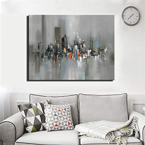 Pintura Al Óleo Pintada A Mano,Ciudad Abstracta Ver Cuadros Al Óleo Brillante Color Gris Pared Imágenes De Arte Moderno Salón para Decoración De Pared Sin Enmarcar,110×150Cm.
