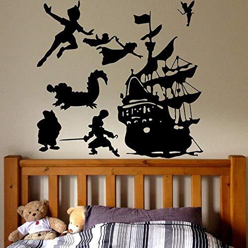 Nyfcc Peter Pan Nave de Piratas Tatuaje de Pared de Dibujos Animados Barco Piratas Gancho Etiqueta de la Pared Sala Infantil Adolescente Sitio de la decoración del Papel Pintado de Vinilo 57x6