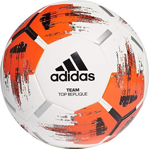 adidas Team TopRepliqu, Pallone da Calcio Uomo, Top:White/Orange/Black/Iron Met. Bottom:Silver Met, 5