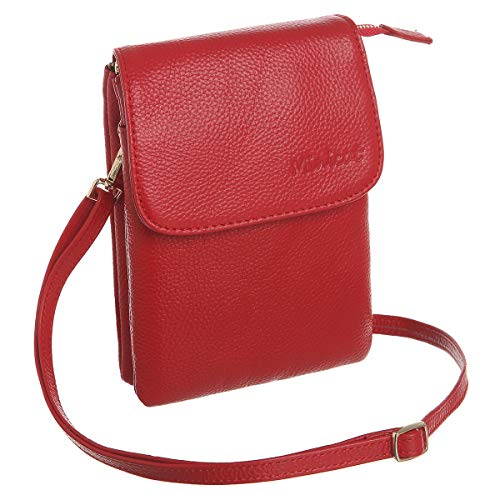MINICAT Leather Small Crossbody Bags RFID Blocking Cell Phone Purse Wallet for Women(Yah Leather-Red)