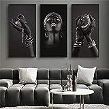 Surfilter Segeltuch Wandkunst Schwarze Hände Halten Silber Schmuck Leinwand Gemälde auf der Wand Kunst Poster & Drucke Afrikanische Frau Kunstbild Home Decor 50x100cm 19