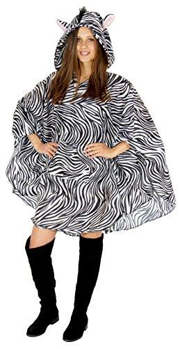 Foxxeo Zebra Party Poncho für Damen und Herren zu Karneval Fasching Party Regen Schnelles Kostüm