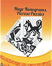 Huge Nonograms, Picross Puzzles: Griddlers puzzles book, with tutorials for beginners.