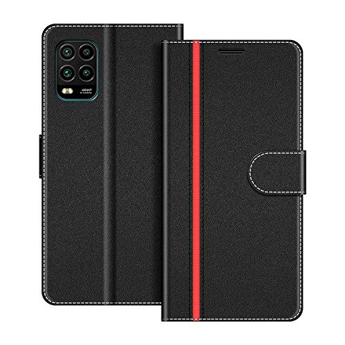 COODIO Handyhülle für Xiaomi Mi 10 Lite Handy Hülle, Xiaomi Mi 10 Lite Hülle Leder Handytasche für Xiaomi Mi 10 Lite Klapphülle Tasche, Schwarz/Rot