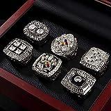 LGFB NFL pour 1974-2008 Pittsburgh Steelers 6 pièce Titre de Champion du Jeu de réplicas Super Bowl 9-12 Taille Mouvement de Rugby Souvenirs Fan Anneau avec boîte en Bois,12