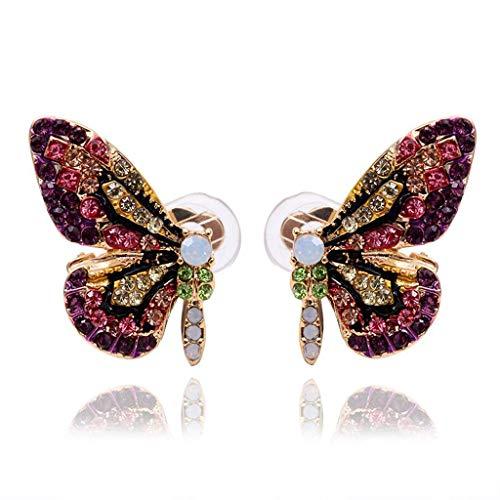 KINTRADE Color Cuento de Hadas Mariposa Stud Pendientes Collar Horquilla joyería Moda Mujeres