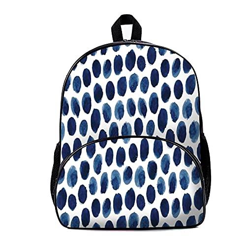 Mochila escolar con lunares azules 18 x 30 x 40 cm, ligera, plegable, para viajes, senderismo, mochila