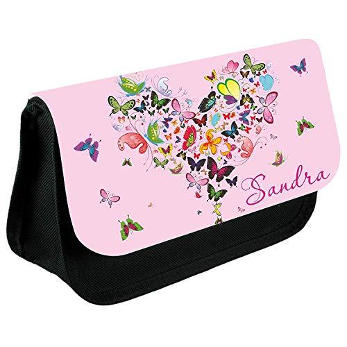 Sac trousse à maquillage avec nom et motif au choix (Maquillage 15) papillon rêve