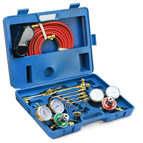 Stark Professional Gas Gas Welding Cutting Torch Kit Portable Oxy Acetylene Oxygen Brazing Set Victor Type w/Case and Hose