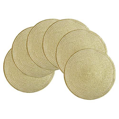 SHACOS Set von 6 runde geflochtene Platzsets Baumwolle Gold Bling handgefertigten Tischsets abwischbar,Für Urlaub Party Hochzeit,Glitter Tischsets rund 6er Set
