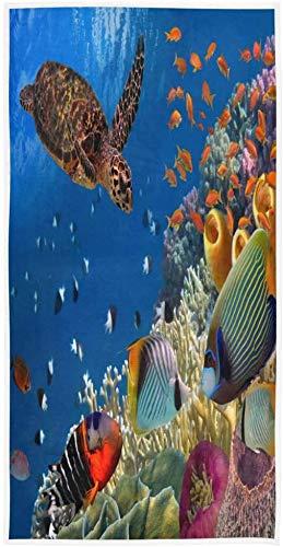 Ocean Sea Turtle Fish Coral Reef Toalla de impresión Personalizada 27,5' x15,7 Toalla de Cara Suave Absorbente Toalla de baño de Cocina para el hogar Toalla para Invitados