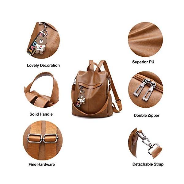 511zY2p4CpL. SS600  - Mochila de las mujeres antirrobo impermeable mochila casual monedero de cuero de la PU bolsa de hombro de la escuela ligera