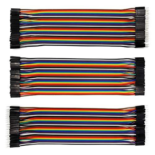 Yyuezhi Jumper 40x 20cm Vrouwelijke mannelijk mannelijk kabel draad draadverbinding 3-delige set voor Arduino Raspberry Pi Dupont kabeljumper