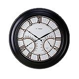 Q-HL Reloj de Pared Reloj de Pared de monitoreo de Clima silencioso de 24 Pulgadas, Relojes de Pared Antiguos sin tictac con termómetro e higrómetro, con Pilas