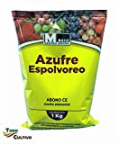 Todo Cultivo Azufre Amarillo ecológico para espolvoreo 1kg. Fungicida y acaricida en Polvo Verano. Prevención de oídios y arañas en Huerta y Vid.