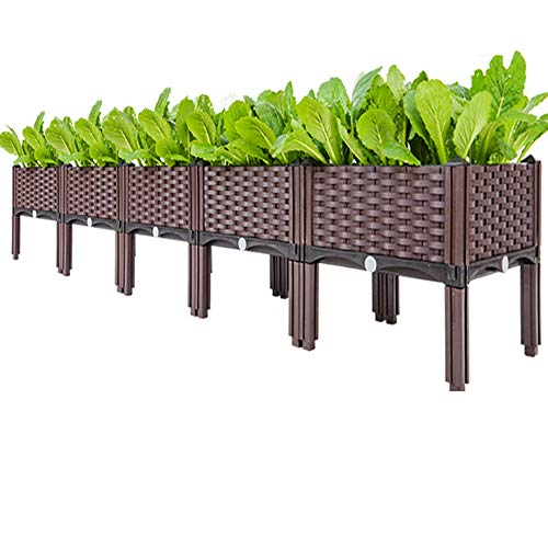 FMXYMC Raised Garden Bed, Indoor Outdoor Plastic Planter Boxes, Elevated Planting Grow Boxes, for Fresh Vegetables, Herbs, Flowers,with Legs,5 Planter Boxes
