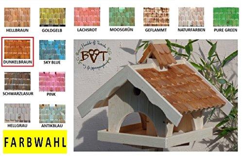 Vogelhaus mit Nistkasten BTVK-VONI5-dbraun002,groß,wetterfest,PREMIUM-Qualität,Vogelhaus,VOGELFUTTERHAUS + Nistkasten 100% KOMBI MIT NISTHILFE für Vögel WETTERFEST, QUALITÄTS-SCHREINERARBEIT-aus 100% Vollholz, Holz Futterhaus für Vögel, MIT FUTTERSCHACHT Futtervorrat, Vogelfutter-Station Farbe braun dunkelbraun schokobraun rustikal klassisch, Ausführung Naturholz MIT TIEFEM WETTERSCHUTZ-DACH für trockenes Futter - 5