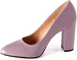Robasiom Block Heel Pumps Women Classic Round Toe Pumps Chunky High Heels Office Dress Pump Shoes