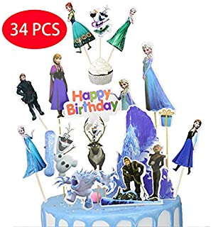 34PCS Frozener Birthday Cake Topper and Cupcake Toppers - 10pcs cake toppers Happy Birthday Party Supplies Cake Topper and 24 pcs Cupcake Toppers
