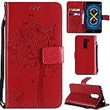 Ooboom® Huawei Honor 6X Coque Motif Arbre Chat PU Cuir Flip Housse Étui Cover Case Wallet Portefeuille Support avec Porte-Cartes pour Huawei Honor 6X - Rouge
