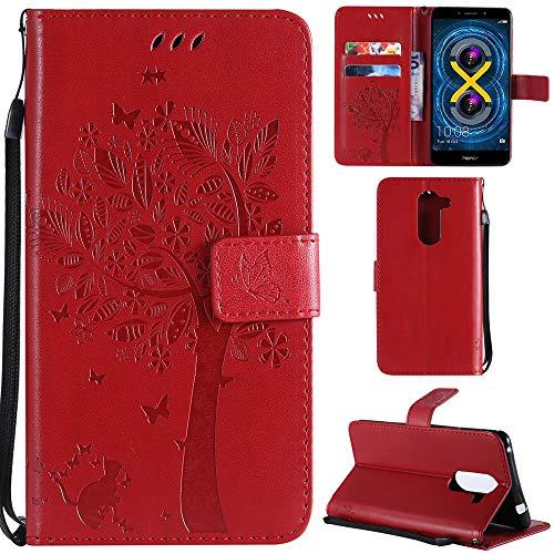 Ooboom® Huawei Honor 6X Custodia Modello Albero Gatto Flip in Pelle PU Cuoio Copertura Case Cover Wallet Portafoglio Supporto per Huawei Honor 6X - Rosso