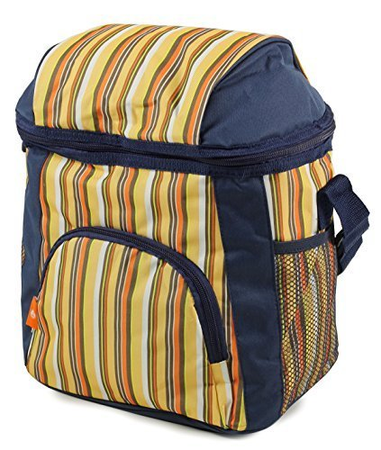 Benzi Cool Bags - Personal / Family - Ideal for Lunch Beach Travel Camping (Medium Striped 16L, Yellow)