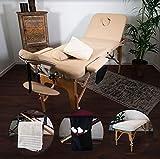MASSUNDA All Inkl Massage-Liege klappbar und höhenverstellbar – mobiler Massagetisch aus Vollholz inkl. Frotteebezug, Arm- und Rückenlehne, Nackenkissen, ergonomische Kopfstütze (Creme-beige)