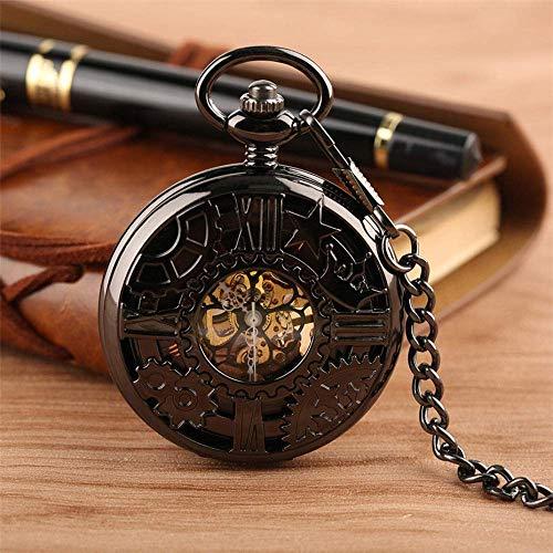 ZHFF Reloj de Bolsillo Antiguo Hueco Rueda de Engranaje Reloj de Bolsillo mecánico Retro Números Romanos Negros Trajes de Caballero Reloj de joyería Regalo para cumpleaños Navidad Día del