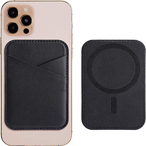 Magnetic Leather Wallet with MagSafe for iPhone 12/12 Mini/12 Pro/12 Pro Max, RFID Card Holder Wallet, Max 3 Cards, Black