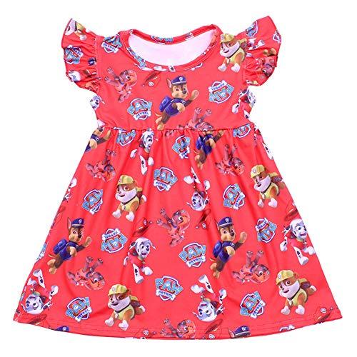 LZJLSQHYH Baby Girls Summer Dress Clothing Girls Stitch Dress Children Girls Blue Boutique Dress (Red paw, 4T)