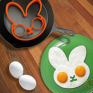 Aalborg125 Pancake Rings Orange Silicone Bunny Cartoon Fry Egg Frame Egg Mold Pancake Egg Rings Shaper Egg Omelette Mould Kitchen Tool
