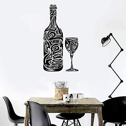 Etiqueta De La Pared Etiqueta De La Pared Copa De Vino Botella Bar Vino Restaurante Bebida Cocina Vinilo Impermeable Bar Decoración Accesorios 80X42 Cm