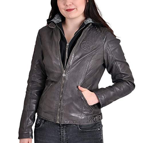 Elbenwald Supernatural Lederjacke Anti Possession Symbol mit Kapuze in 2in1 Optik mit Reißverschluss für Damen grau - L