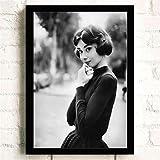 pktmbttoveuhgf Pintura Moderna en Blanco y Negro Audrey Hepburn Retrato artístico Impreso Cartel Abstracto Cuadro de Pared Lienzo Pintura