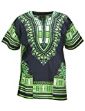 KlubKool Dashiki Shirt Tribal African Caftan Boho Unisex Top Shirt (Black/Green,Medium)