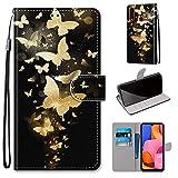 Miagon Flip PU Leder Schutzhülle für Samsung Galaxy A20S,Bunt Muster Hülle Brieftasche Case Cover Ständer mit Kartenfächer Trageschlaufe,Gold Schmetterling -