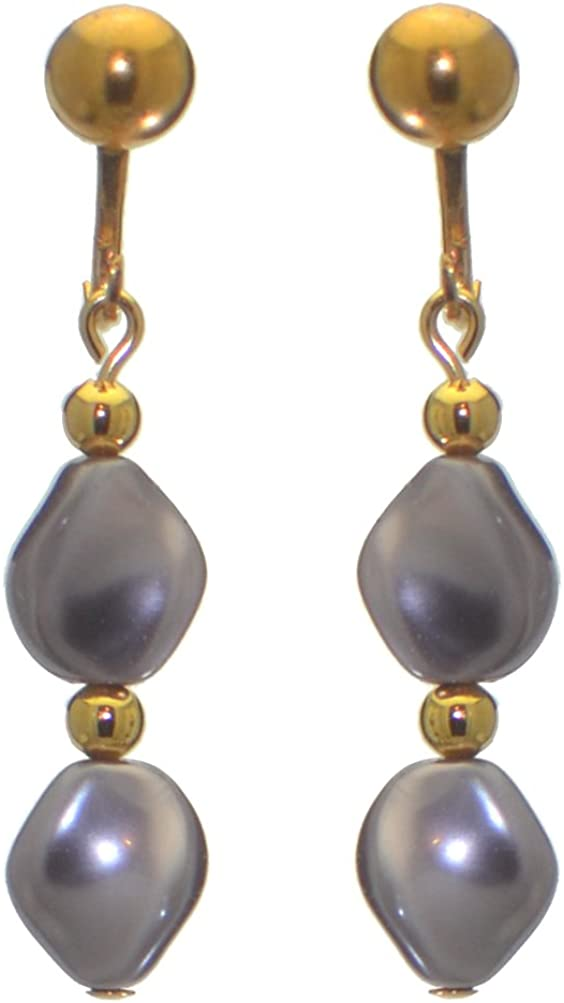 ACCALIA gold plated purple Swarovski elements wave pearl clip on earrings
