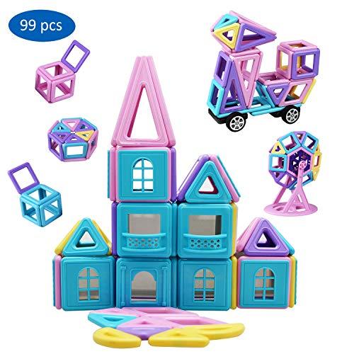 YowoSmart 99 PCS Magnetic Building Tiles Blocks Set Kids Magnet Toys, STEM Educational 3D Stacking Toys Gifts for Girls Boys Children, Smaller Blocks to Suit Kids