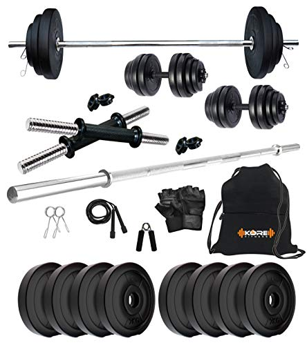 Kore PVC 16 kg Home Gym Set with One 4 Ft Plain and One Pair Dumbbell Rods with Gym Accessories
